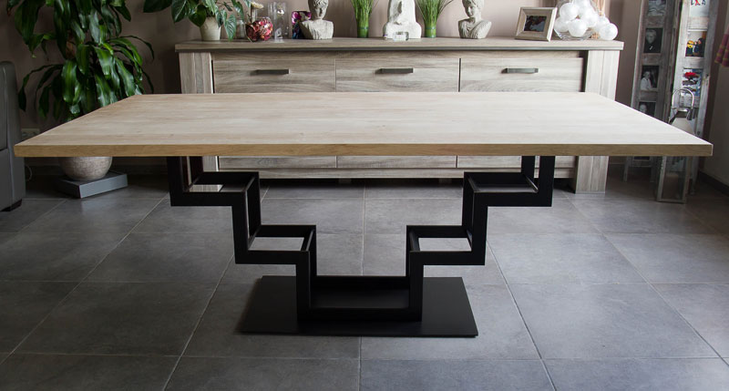 Table haute en bois acier jeliodesign for Pietement de table design